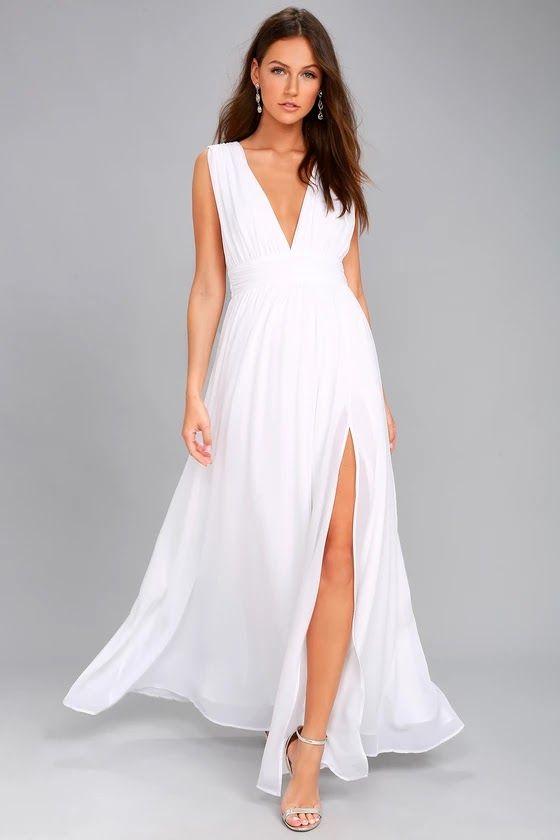 ed99e7a60e2 Wedding Dresses For Budget Brides  Heavenly Hues White Maxi Dress At Lulus