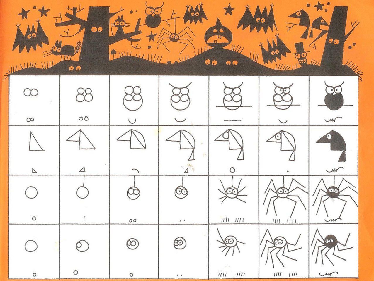 Ed Emberley Easy drawings, Halloween drawings, Step by