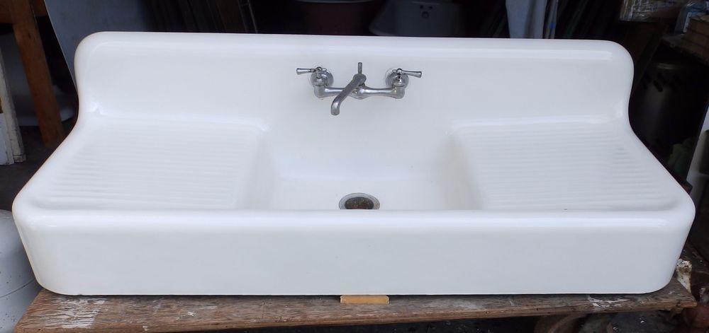Antique Cast Iron White Porcelain Double Drainboard Farm Sink Old Vtg 4601-15