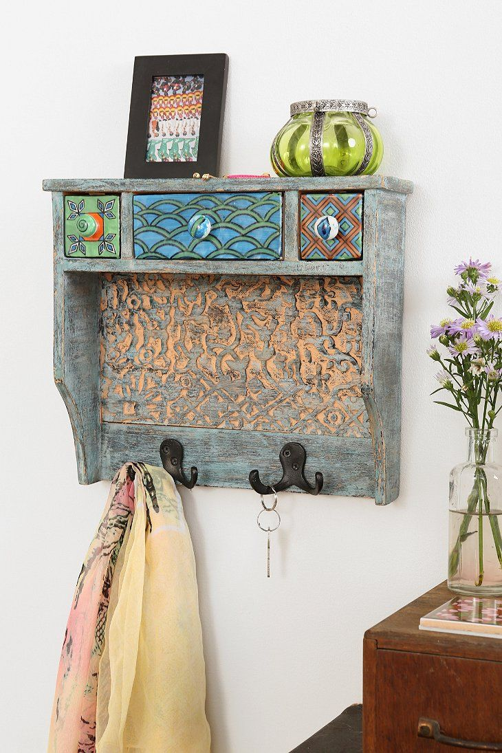 Painted Woodblock Wall Shelf Cute For Hanging Necklaces And Headbands Storing Jewelry