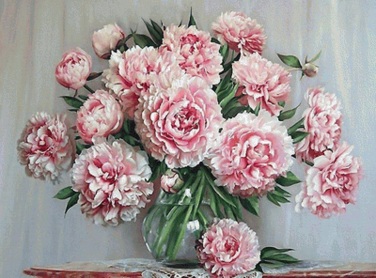 Схема вышивки «№1799684» - Вышивка крестом | Розовые пионы ...