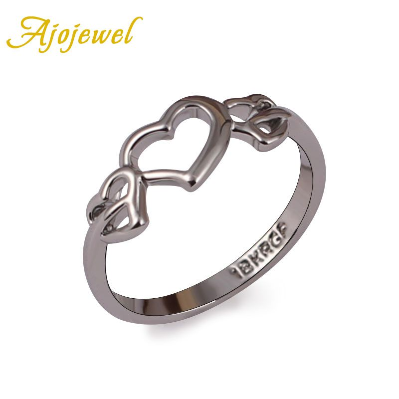 Ajojewel Cute Simple Designer Hollow Out Heart Ring Women Without ...