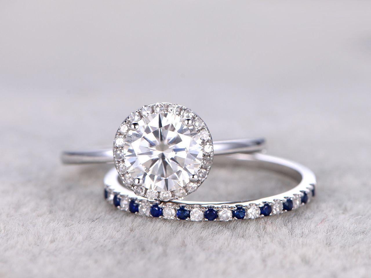 ring moissanite engagement ring set diamond and sapphire wedding - Sapphire Wedding Ring Sets