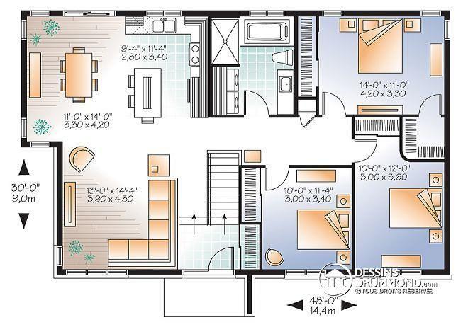 plan de maison 3 chambres 2 douches On diseno casa 120 m2 2 plantas