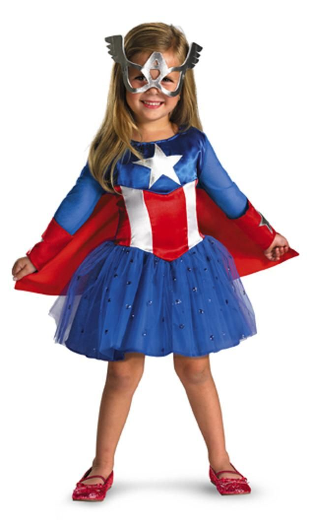 Tights Girls Fancy Dress Marvel Superhero Kids Childs Costume Captain America