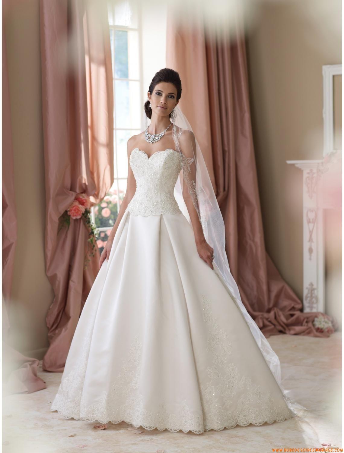 Robe de mari e princesse satin dentelle paillette bustier for Robes de mariage haut de gamme