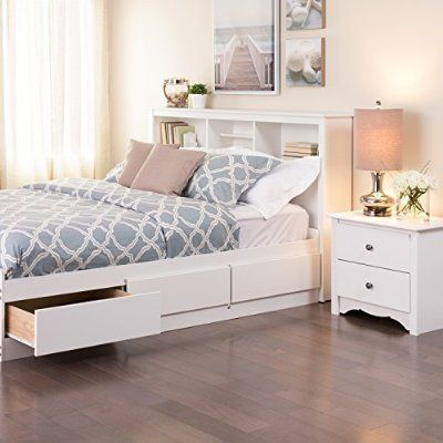 White Full Queen Bookcase Headboard And Bed With Drawers On