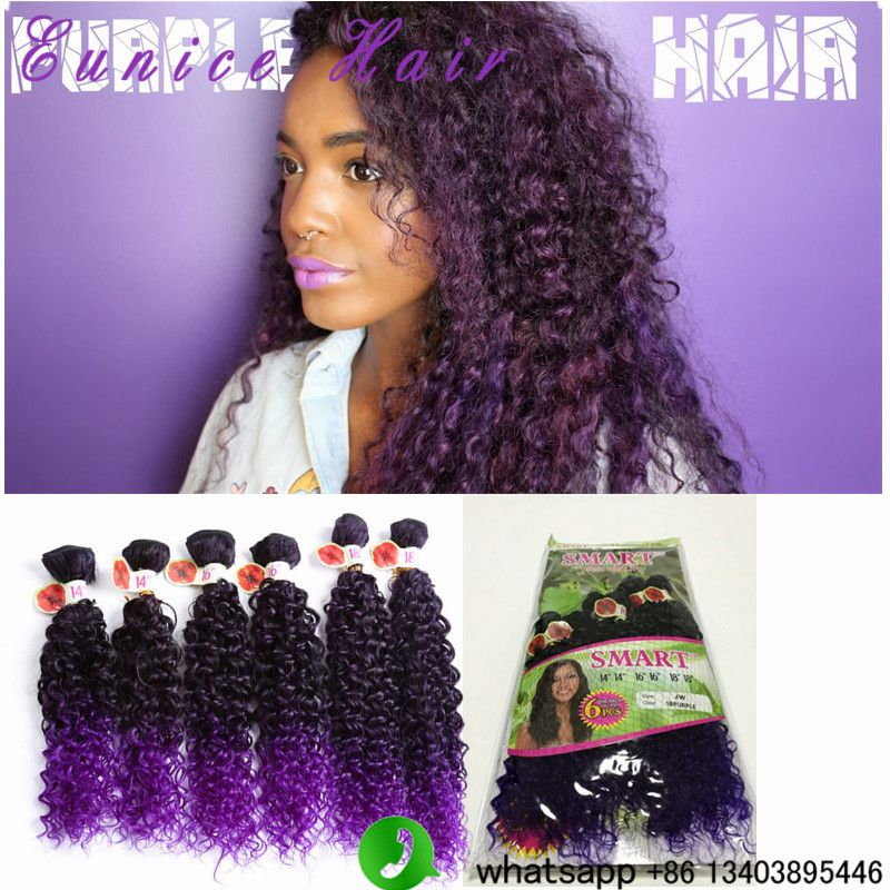 Ombre Synthetic Jerry Curl Weavepurple Curly Weave Hair Synthetic