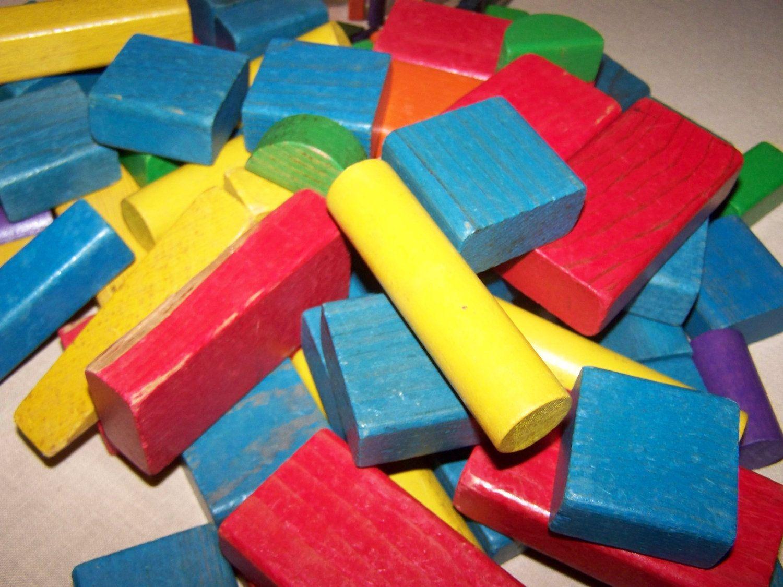 Playskool Wood Blocks Vintage Wooden Blocks Antique Toysto Mid