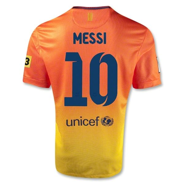sports shoes 173bb 2b9c8 12/13 Barcelona #10 Messi Orange Away Soccer Jersey Shirt ...