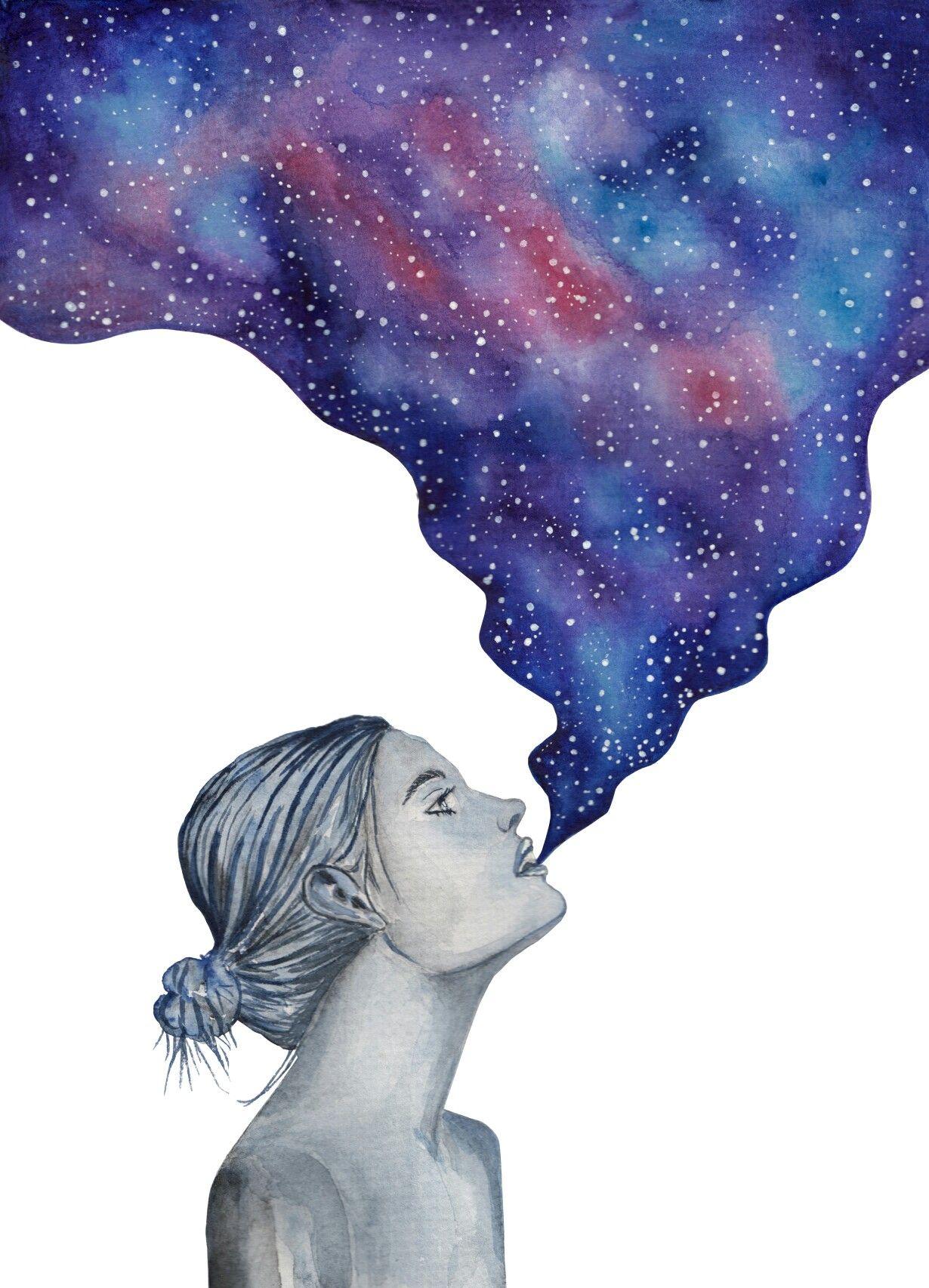 Galaxy Girl Watercolor Cloudy King Art Galaxy Painting Art Watercolor Galaxy