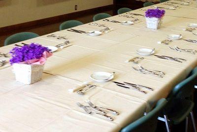 Full course dinner table setting