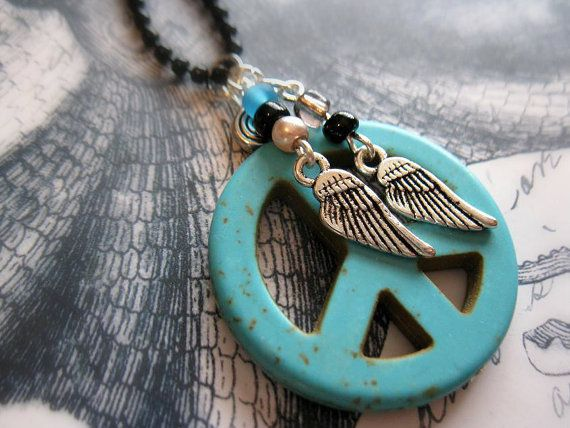 PEACE SIGN NECKLACE Turquoise Peace necklace Wings Hippie bohemian jewelry