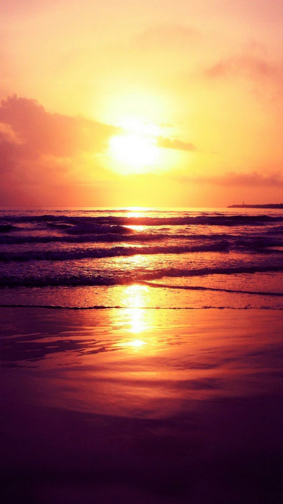 Setting Sun Ocean Beach iPhone 8 Wallpapers Nature