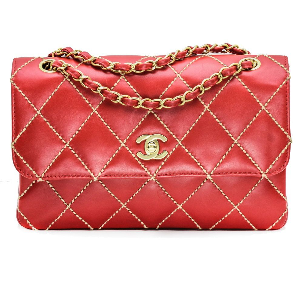 25307678c17c Chanel Medium Classic Quilted Flap Bag in Red Leather with Beige Wild Stitch  #Chanel #ShoulderBag