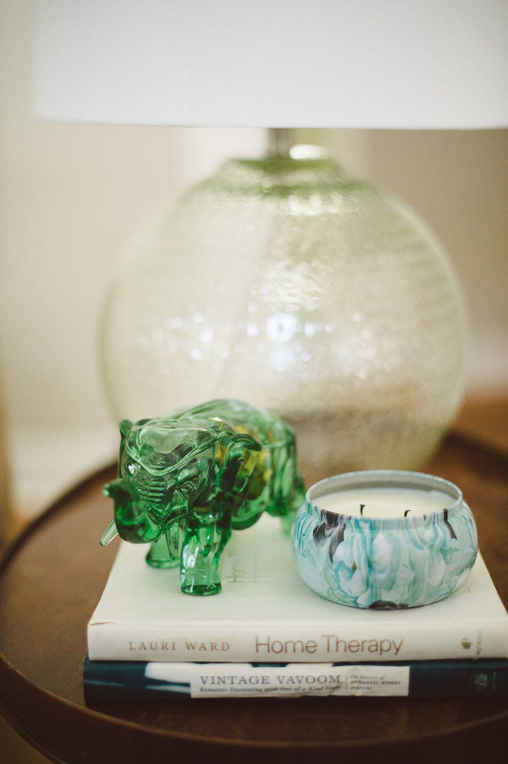 living room end table vignette  vintage green elephant