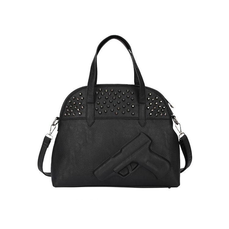 New fashion women shoulder bag 3D gun bags shot Shell Leather handbag vlieger rivets crossbody tote clutch bolsos for lady