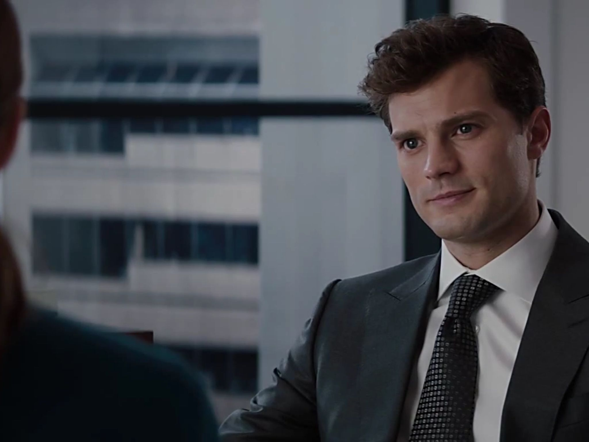 Christian Grey Interview Scene 50 Shades Of Grey Fifty Shades Movie Christian Grey