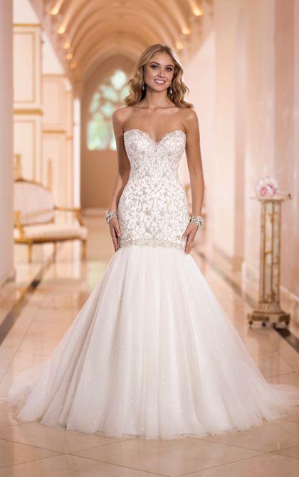Lace a line illusion neckline wedding dress stella york for Tulle trumpet wedding dress