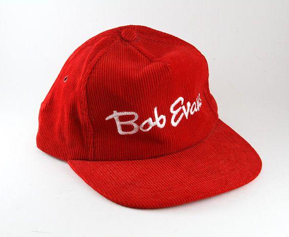 3462ff2add2 Vintage Bob Evans Restaurant Red Corduroy Baseball Cap