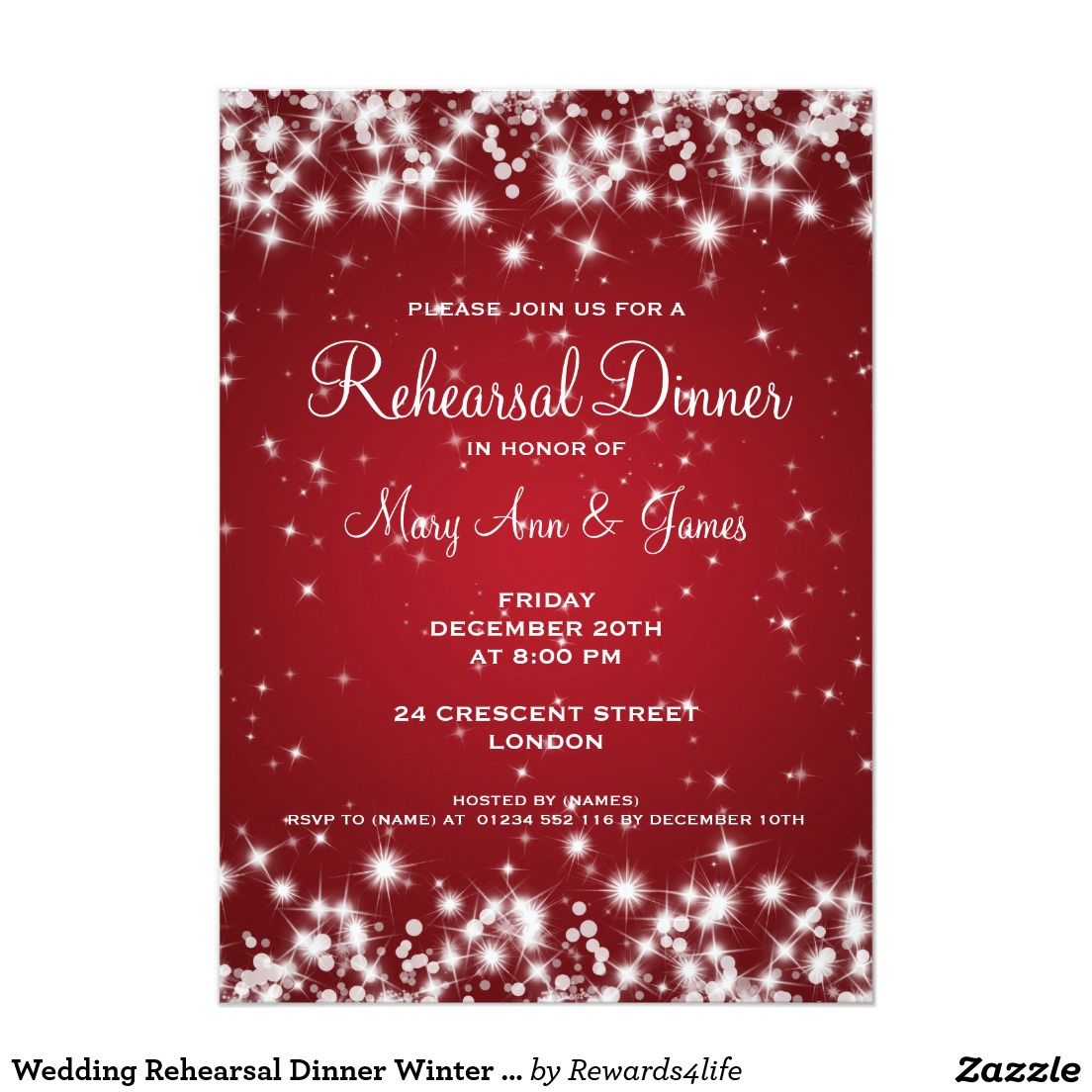 Wedding Rehearsal Dinner Winter Sparkle Red Card Rehearsal Dinners