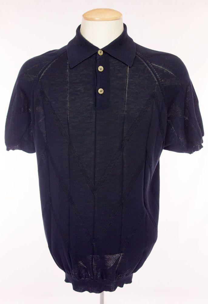 PAL ZILERI Mens Knit Shirt Size M Medium Navy Short Sleeve Lightweight  Sweater  PalZileri   42a772c336
