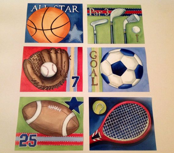 6 Sports kids wall art children\'s sports wall decor by terezief ...
