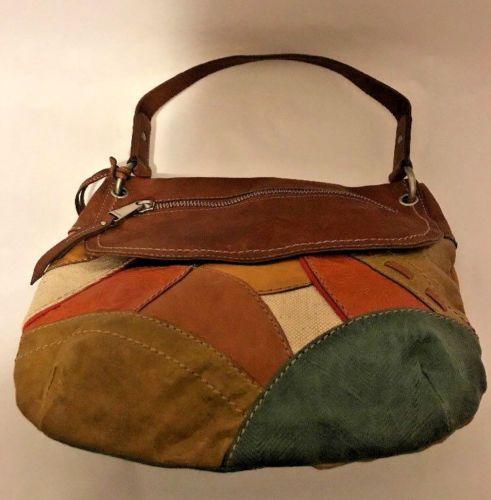 Fossil Long Live Vintage 1954 Leather Canvas Patchwork Handbag Blue Orange Brown Fossils And