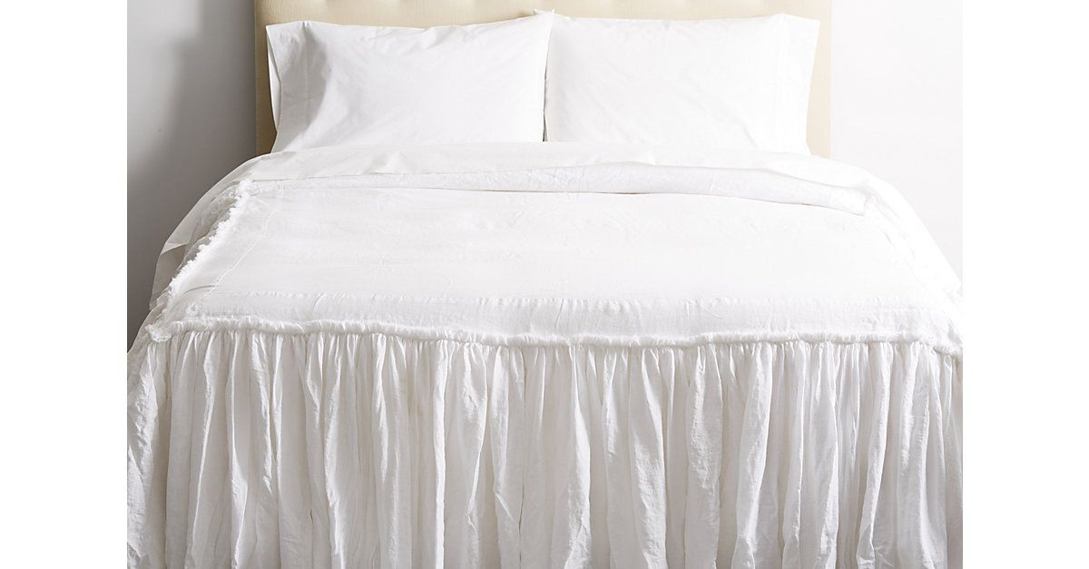 Made of ultrasoft, garment-washed linen and constructed with a frayed ruffle detail, this bedspread is understated and elegant with a relaxed, romantic appeal. Made in the USA.