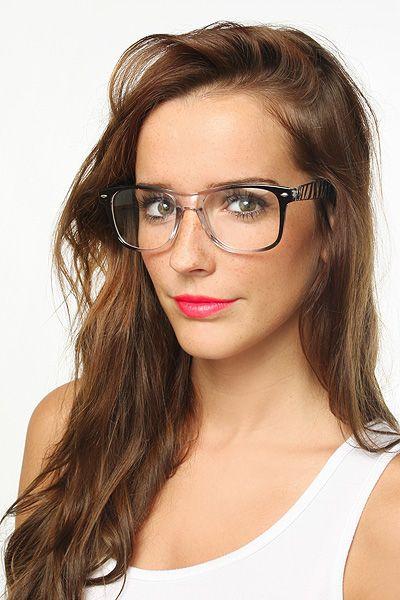 wayfarer large uj8h  'Jude' Large Transparent Zebra Clear Wayfarer Glasses