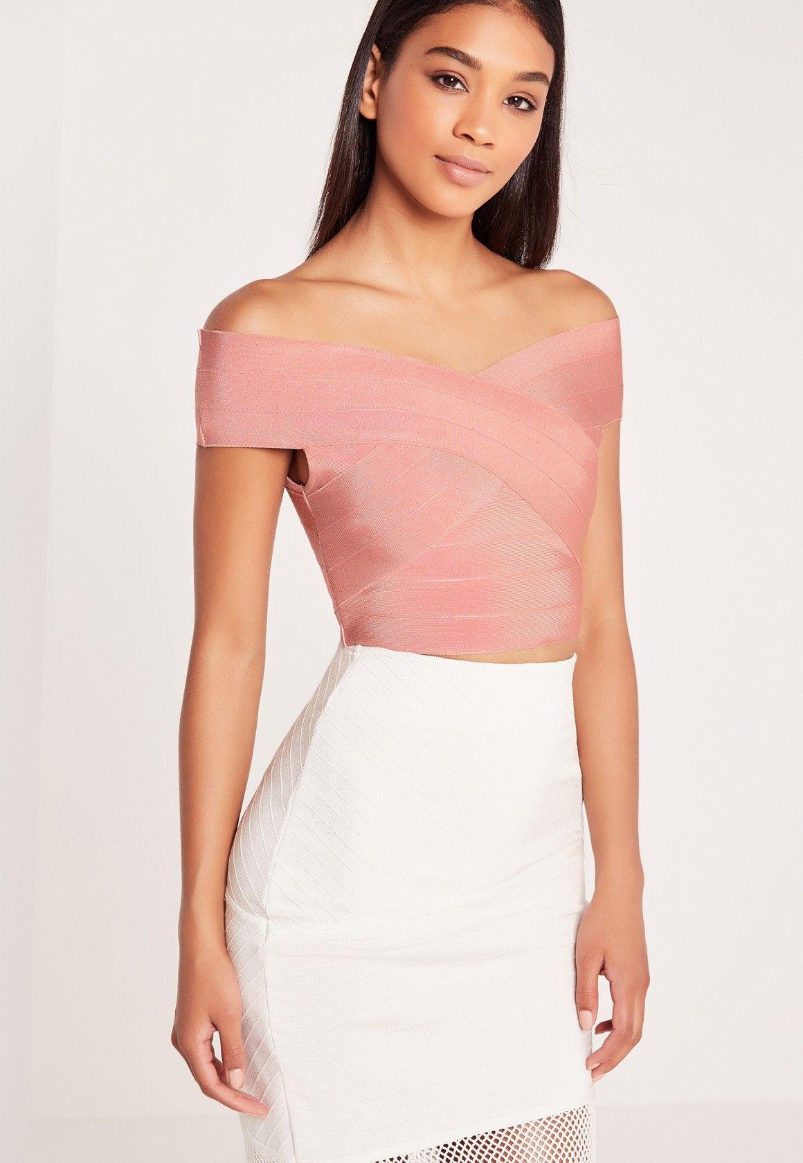 2eb979f8b69 Missguided - Bandage Bardot Crop Top Pink | Damas | Bardot crop top ...