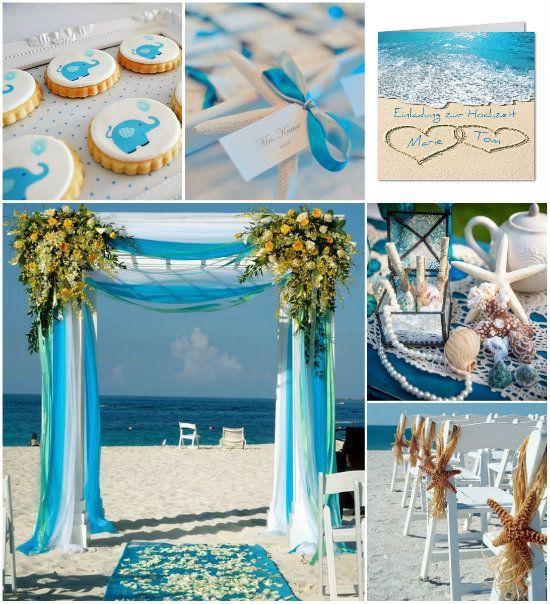Sommerhochzeit am Strand Hochzeitsdekoration Tischdeko