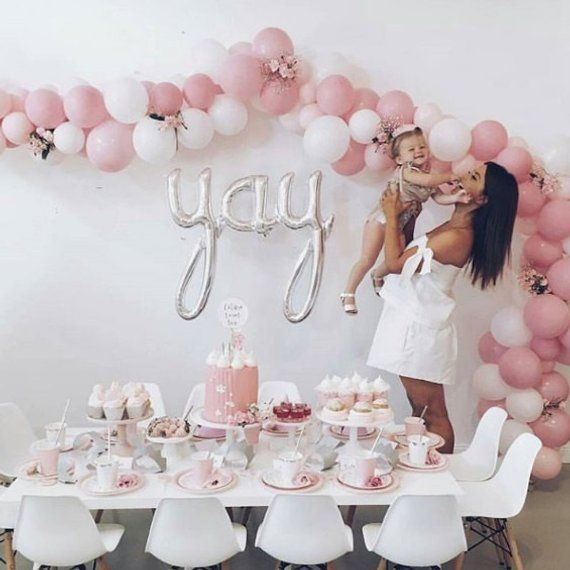 Script YAY Silver 45 Balloon Party Decoration Birthday Personalized Balloons Engagem