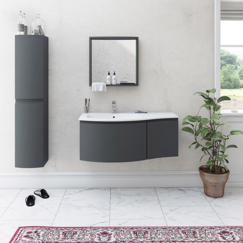 Mode Harrison Slate Gloss Grey Furniture Package With Left Handed Wall Hung Vanity Unit 1000mm Wall Hung Vanity Vanity Units Furniture Packages