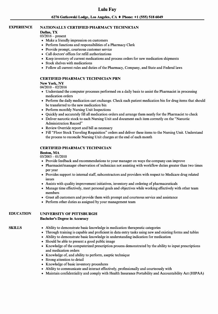 Pharmacy Technician Resume Examples New Certified Pharmacy