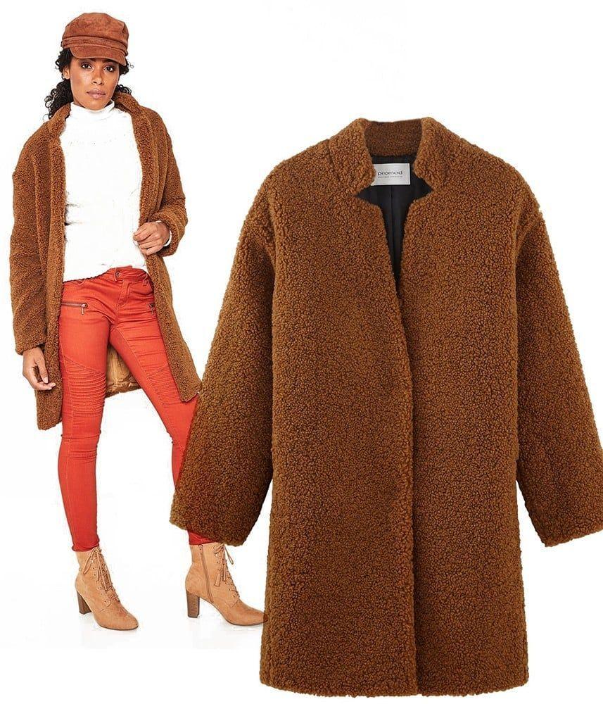 Du En De Fourrure Produit Promod Manteau Mouton Coloris Fausse Le Femme  Marron gqxwUS 8a1b0042f424