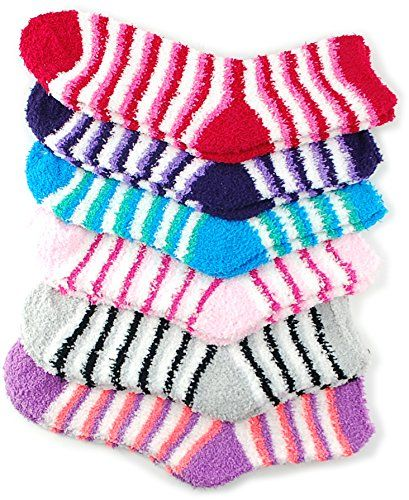 100% top quality genuine shoes online store 6 Pack of Fluffy Fuzzy Socks Two Color Wide Stripe *** For ...