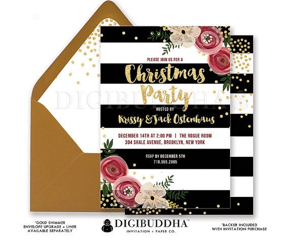CHRISTMAS PARTY INVITATION Black + White Striped Gold Glitter - holiday party invitation