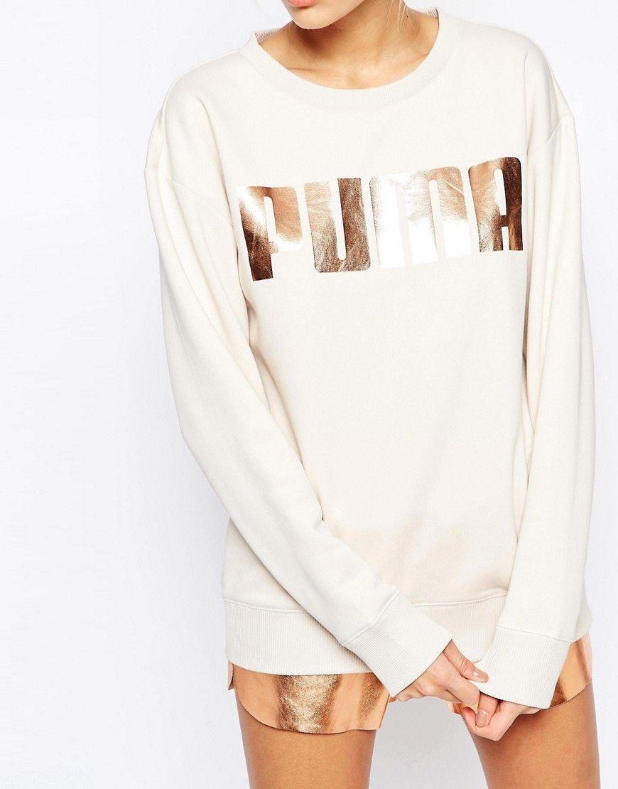 Puma Oversized Crew Neck Sweatshirt With Rose Gold Logo At Asos Com Sweatshirts Saturday Outfit Athleisure Chic [ 1110 x 870 Pixel ]