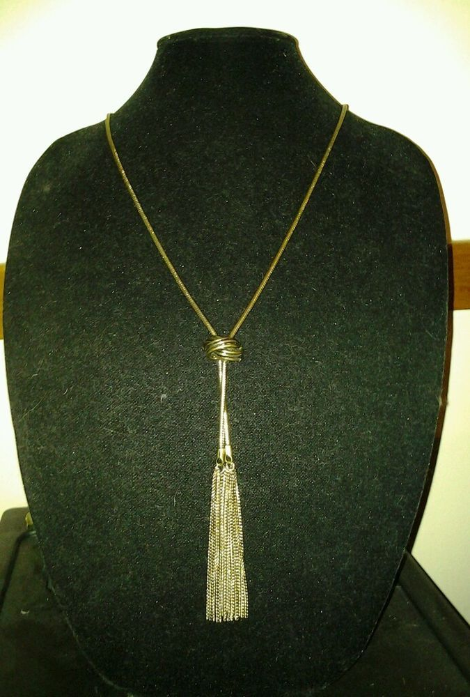 Vintage Antique Gold Coil Chain Knot Pendant Tassel Long Statement Necklace #Chain