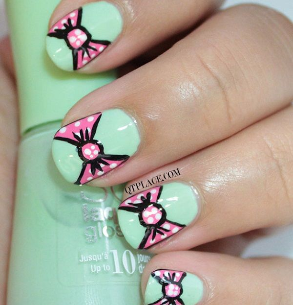 30 Cute, Cool And Simple Bow Nail Art Designs For Girls | Bow nail ...