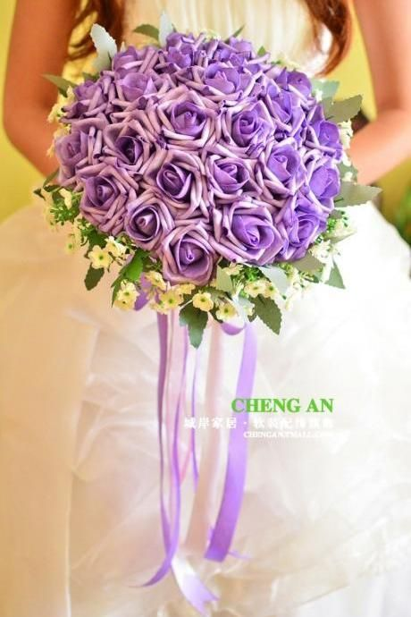 New Arrival Wedding Bouquet Handmade Flowers Purple Rose Bridal Bouquet Wedding Bouquets #bridalbouquetpurple Wedding bouquets | Bridal bouquet, reception centerpieces | Luulla #bridalbouquetpurple
