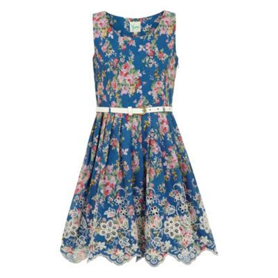 Girls' Clothing (sizes 4 & Up) Bluezoo Girls Blue Flower Print Smocked Dress Age 7 Pretty And Colorful Dresses