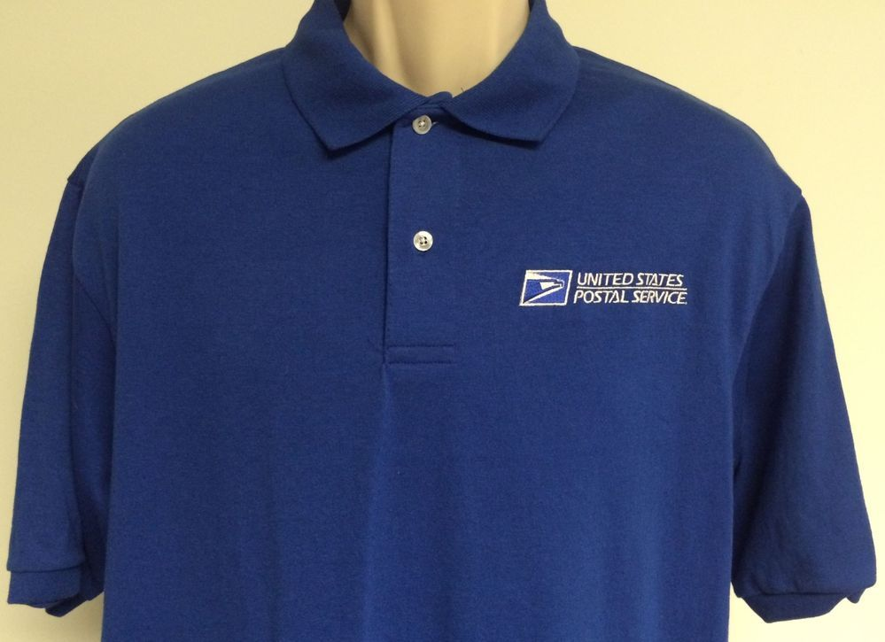 USPS Uniform Post Office Polo Shirt Mens Short Sleeve Blue
