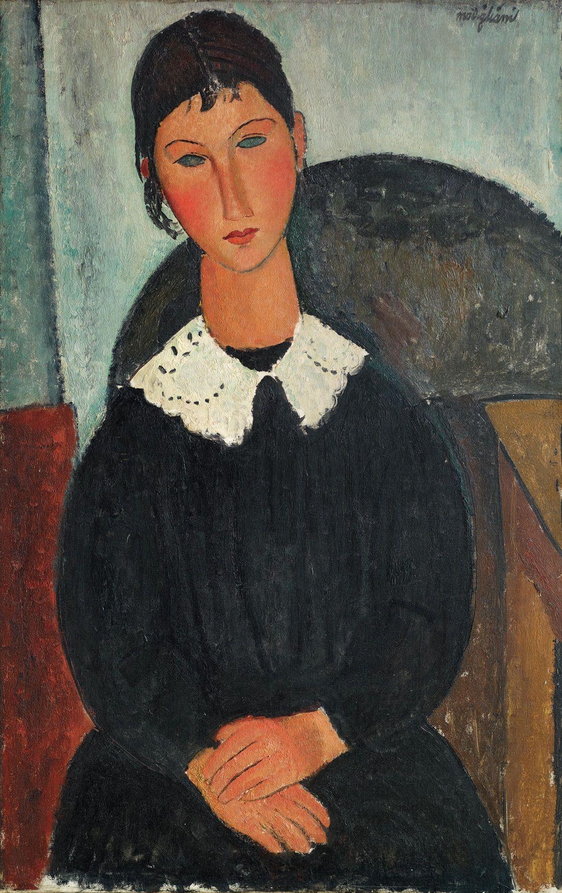 Amedeo Modigliani, Elvire con colletto bianco (Elvire con collettino), 1917  o 1918(이미지 포함) | 인물화, 유화, 배경화면