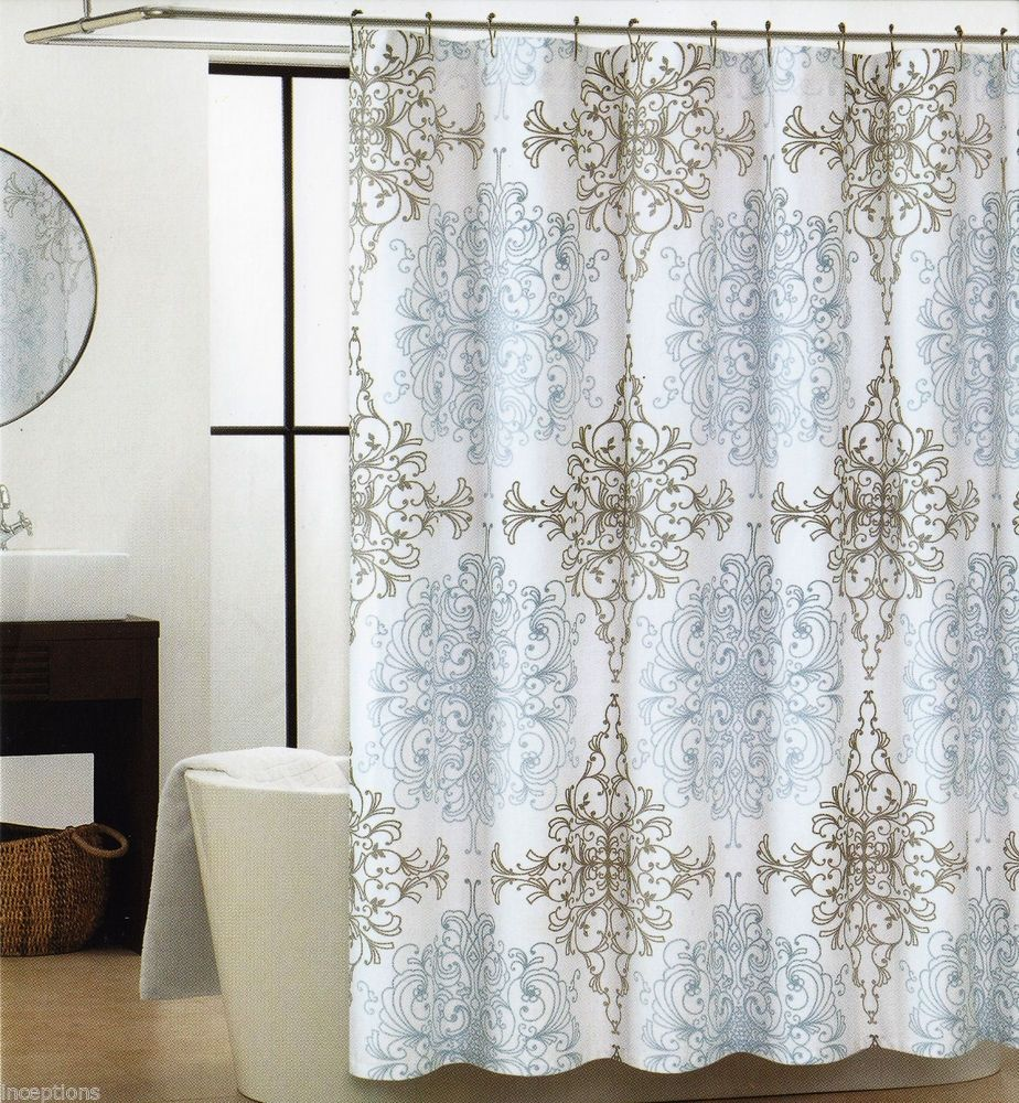 Waverly bedazzled grey damask shower curtain shower curtain