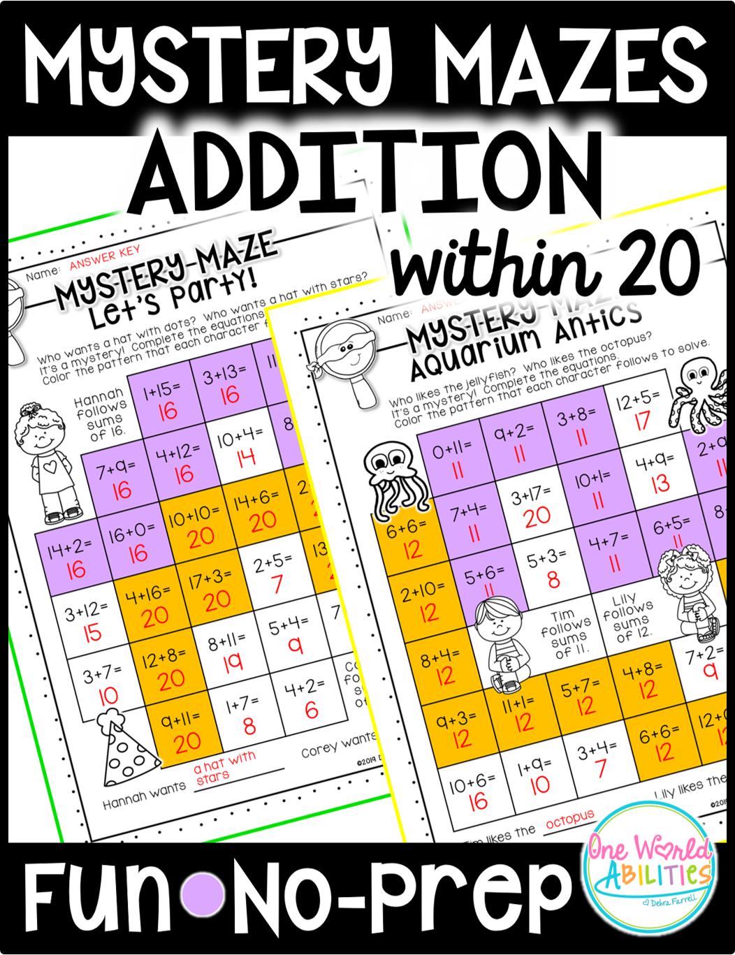 Mystery Math Mazes Addition Within 20 No Prep Printables
