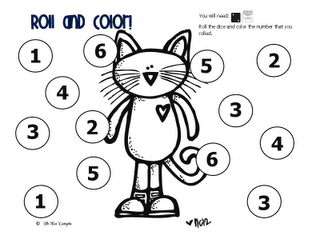 Roll & Color Pete the Cat Worksheet.  Or, leave circles blank. Stud rolls two dice and finds the sum. Writes answer in a circle. Colors odd answers in red and even numbers  in blue.