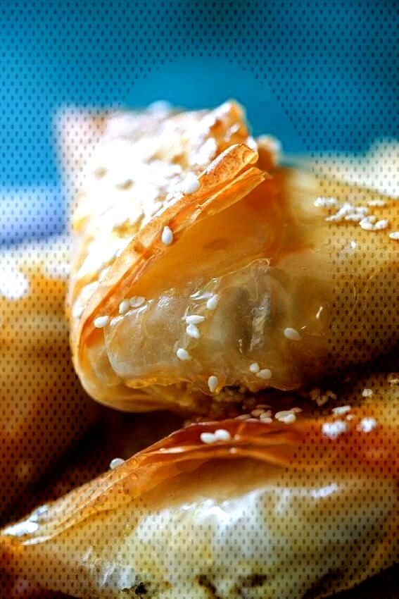 Feta and phyllo pies with honey and oregano - Simply Delicious - Gil Gil -Greek Feta and phyllo pie
