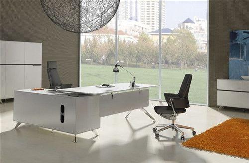 Modern White Lacquer L Shaped Executive Desk Right Return Office Furniture Modern White Executive Desk Executive Desk